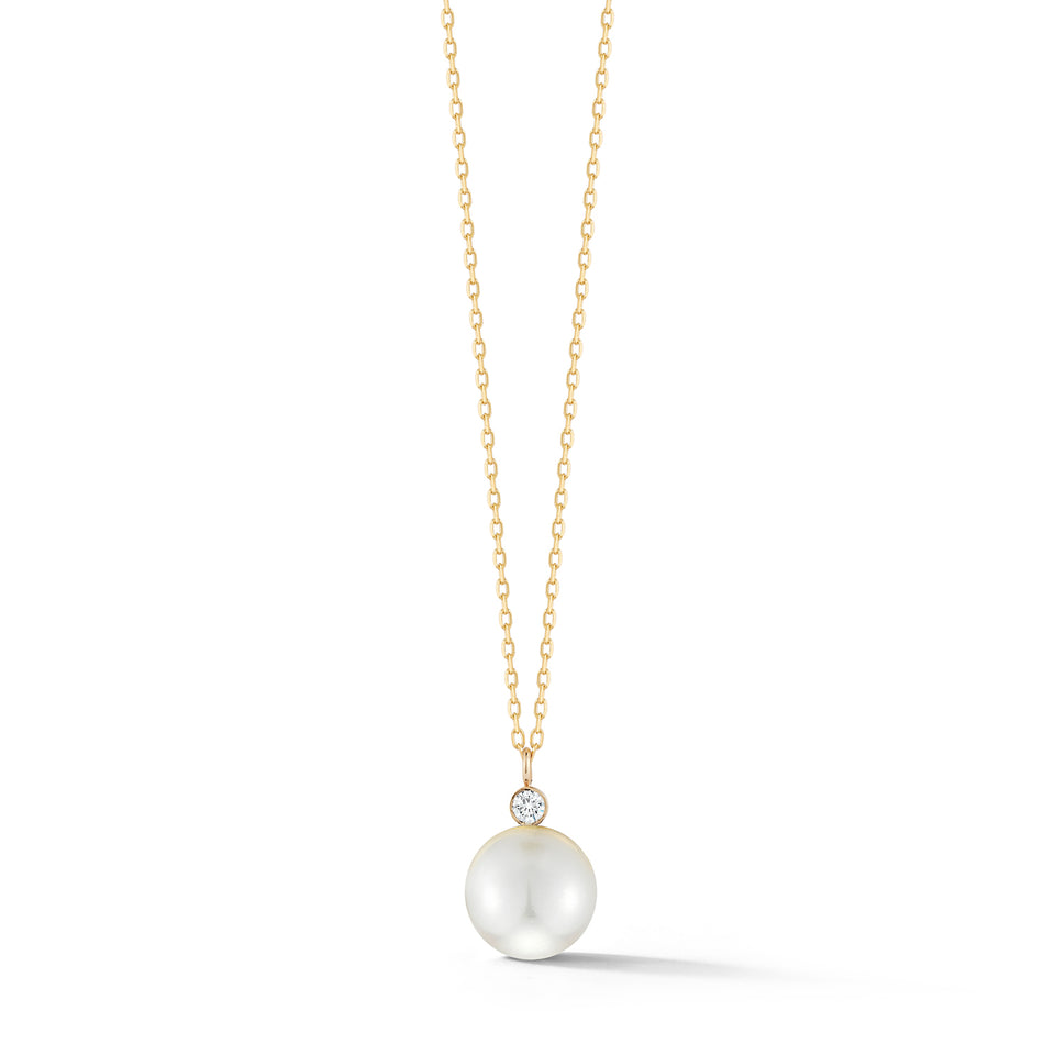 14kt Gold Pearl and Diamond Dot Necklace