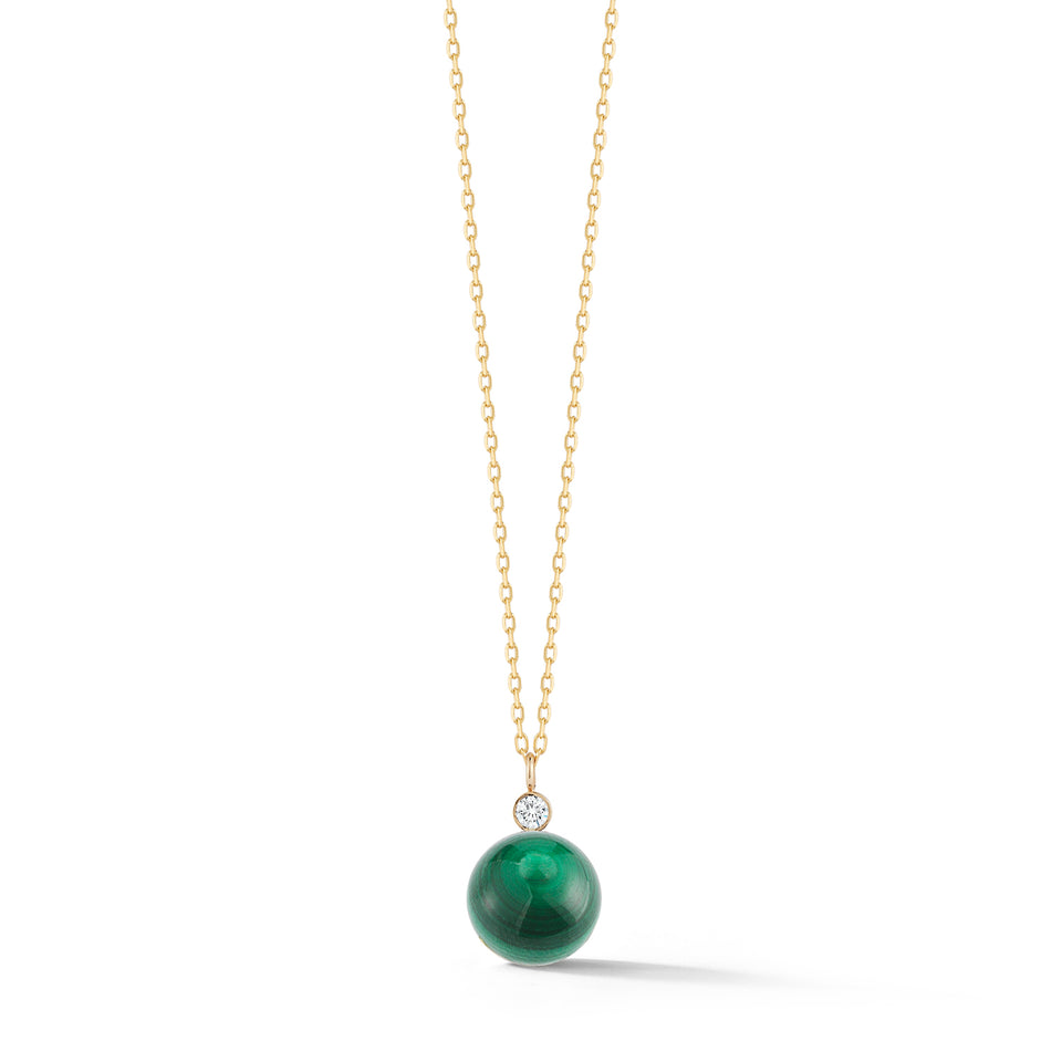 14kt Gold Malachite and Diamond Dot Necklace