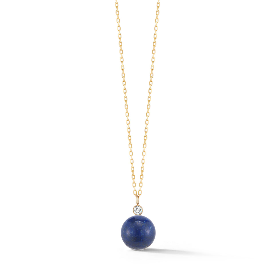 14kt Gold Lapis and Diamond Dot Necklace