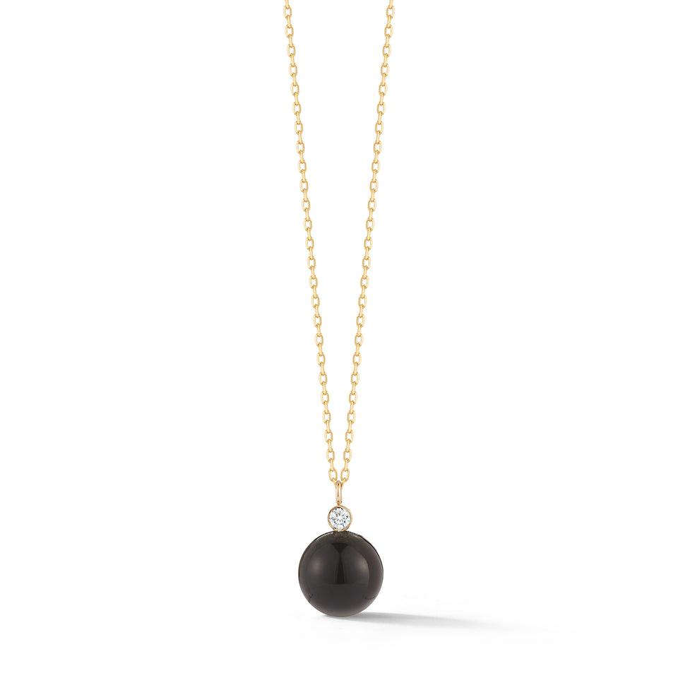 14kt Gold Onyx and Diamond Dot Necklace