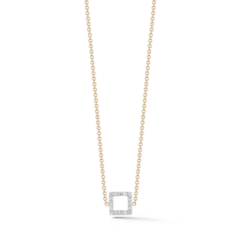 14kt Gold Mini Diamond Square Necklace
