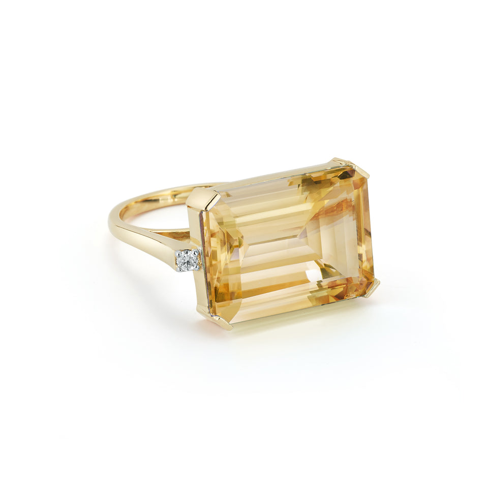 East West Citrine Ring