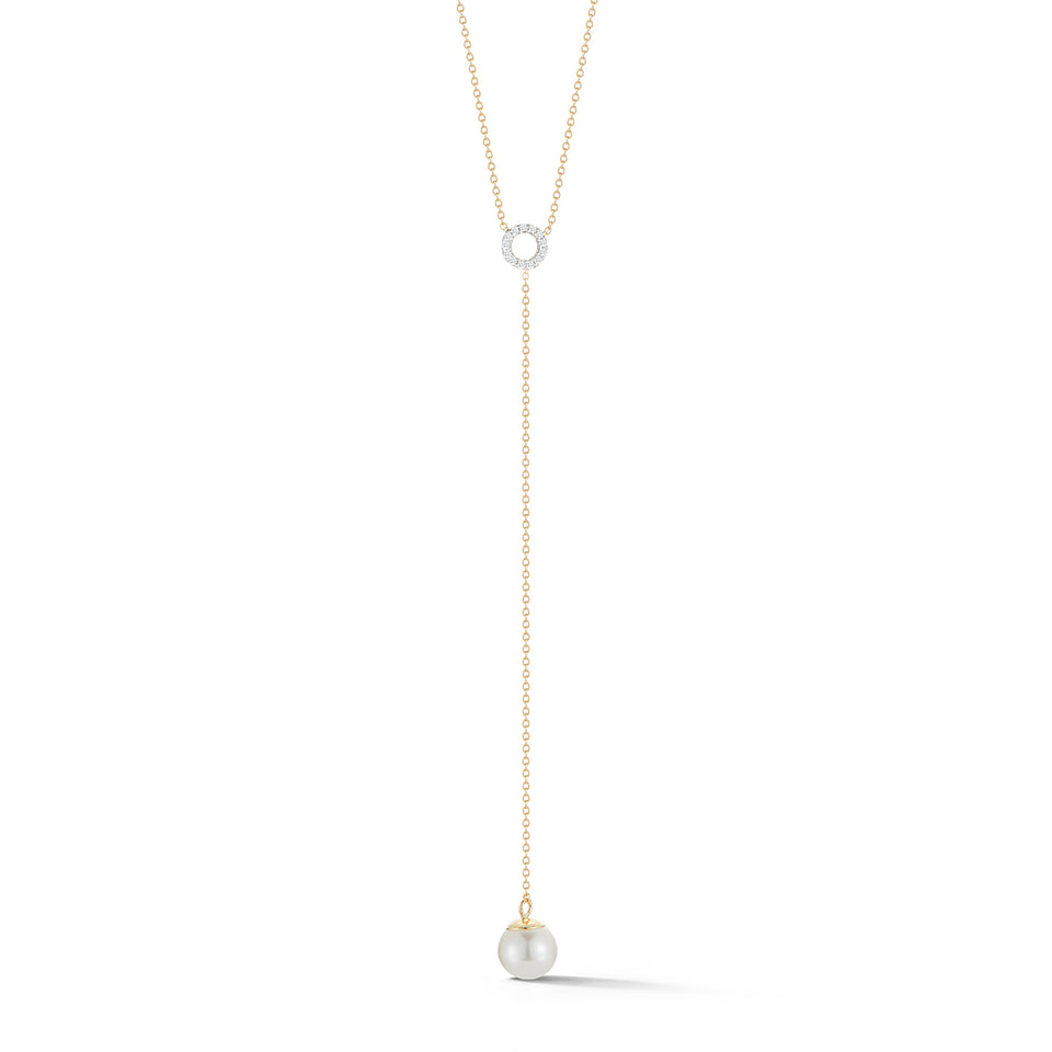 Circ Du Pearl Lariat with Diamonds