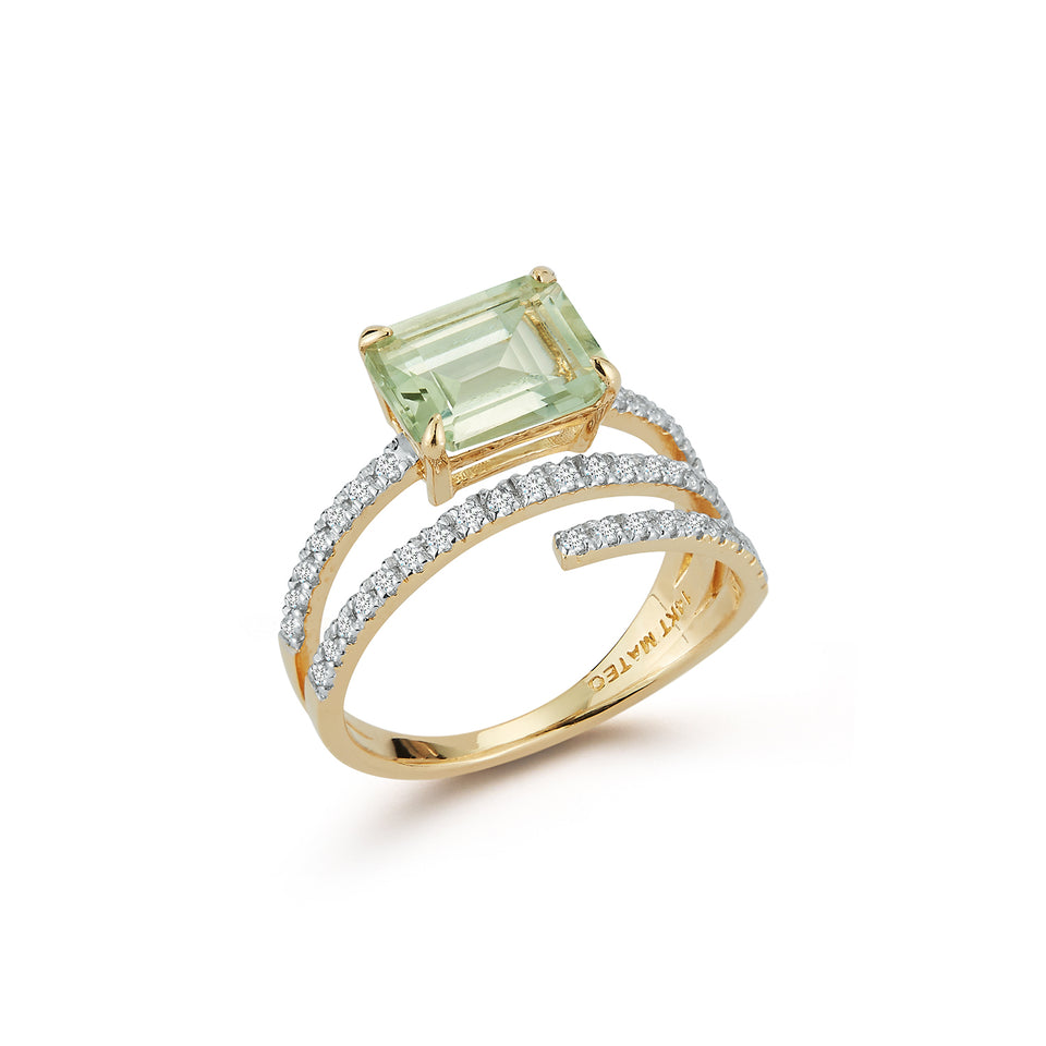 14kt Gold Green Amethyst Spiral Ring