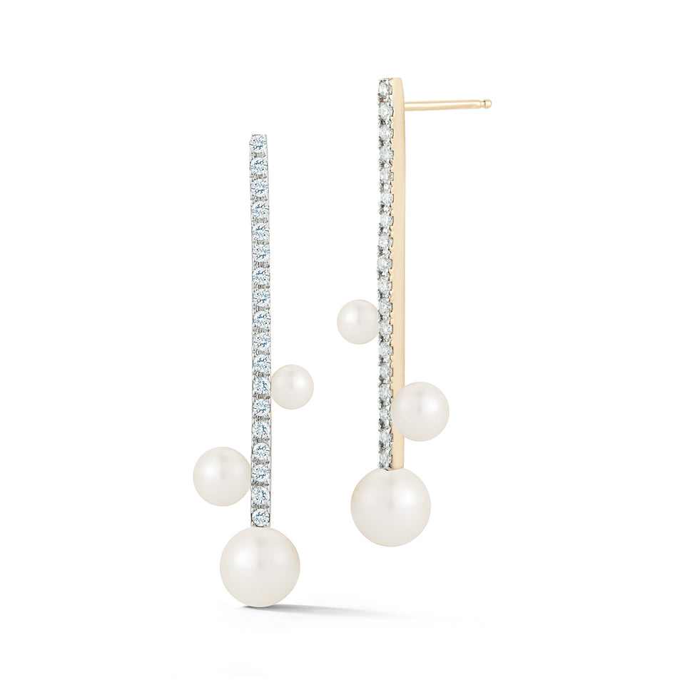 Diamond Bar Trio Pearl Earring