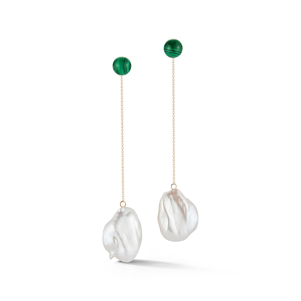 Duality Pearl and Malachite Danglers