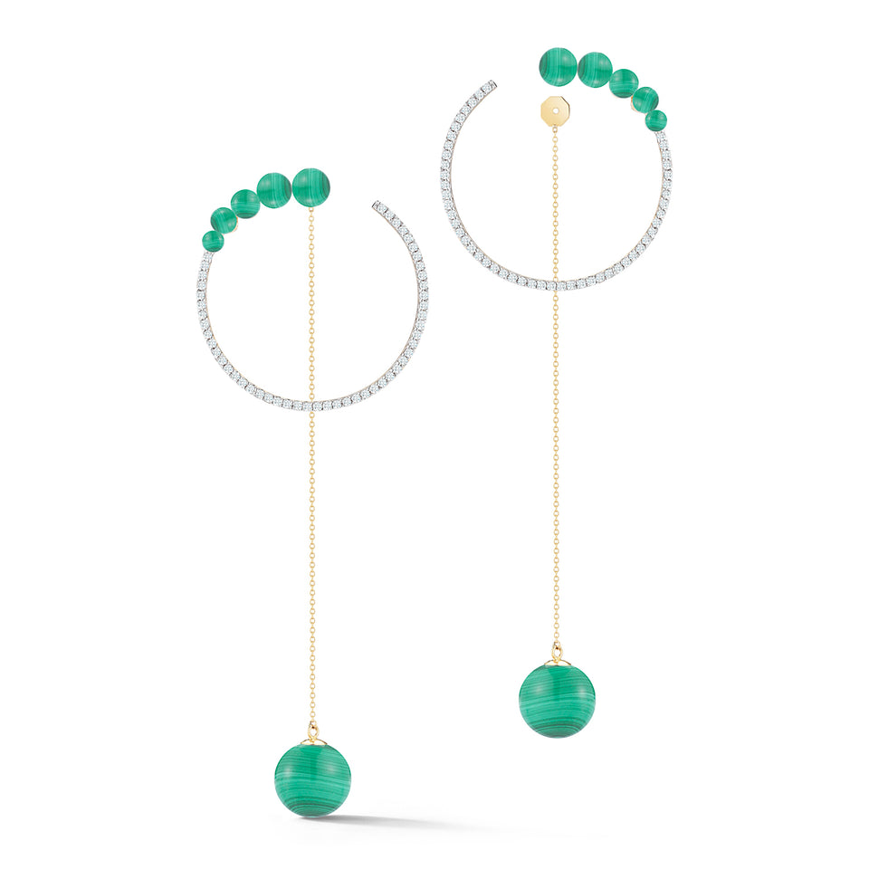 14kt Gold Graduated Malachite Hoop with Malachite Drop earrings
