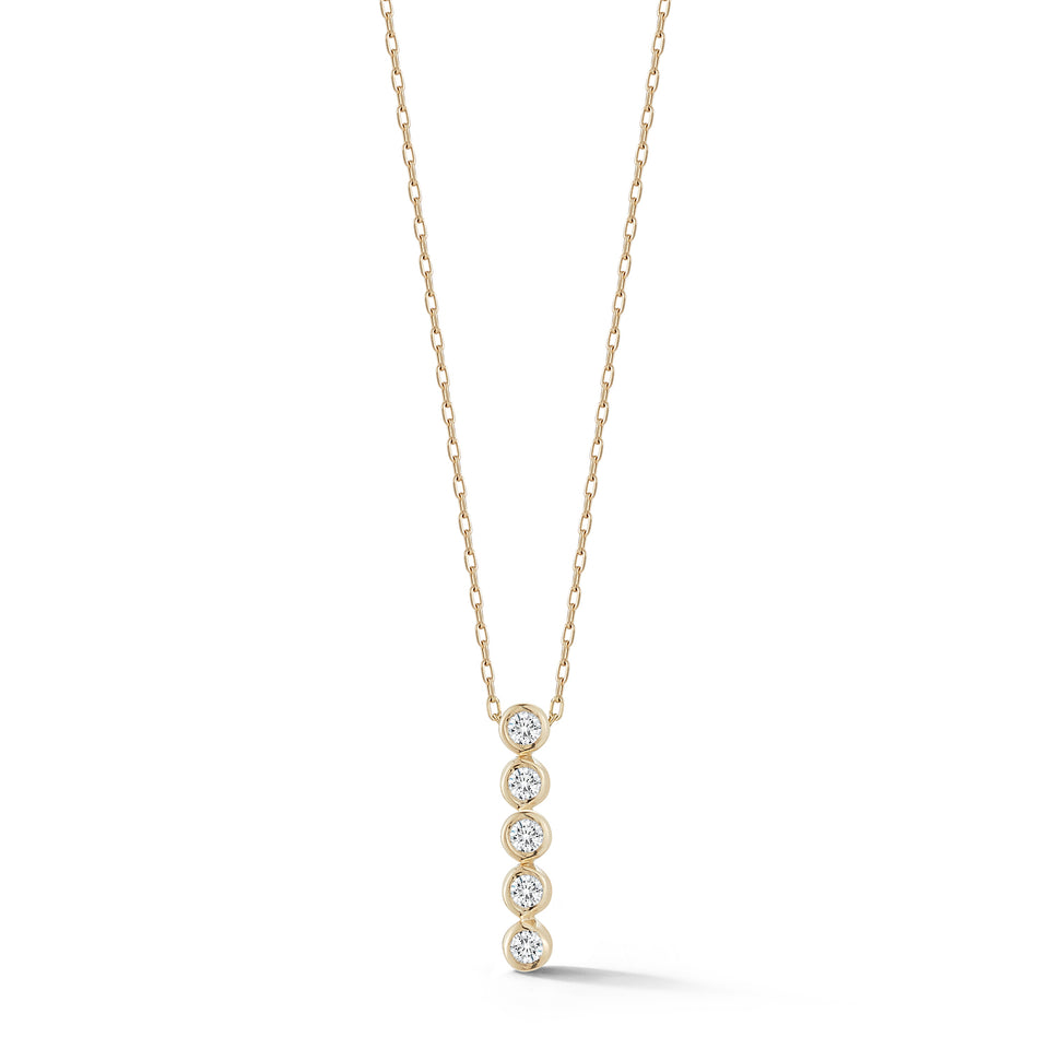 5 Point Diamond Bezel Dot Necklace