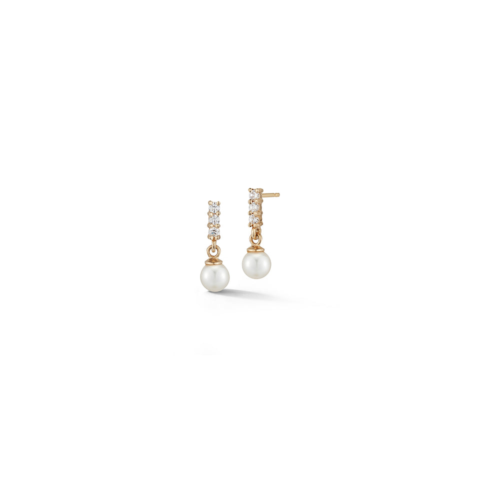 Mini Diamond Bar Pearl drop earrings