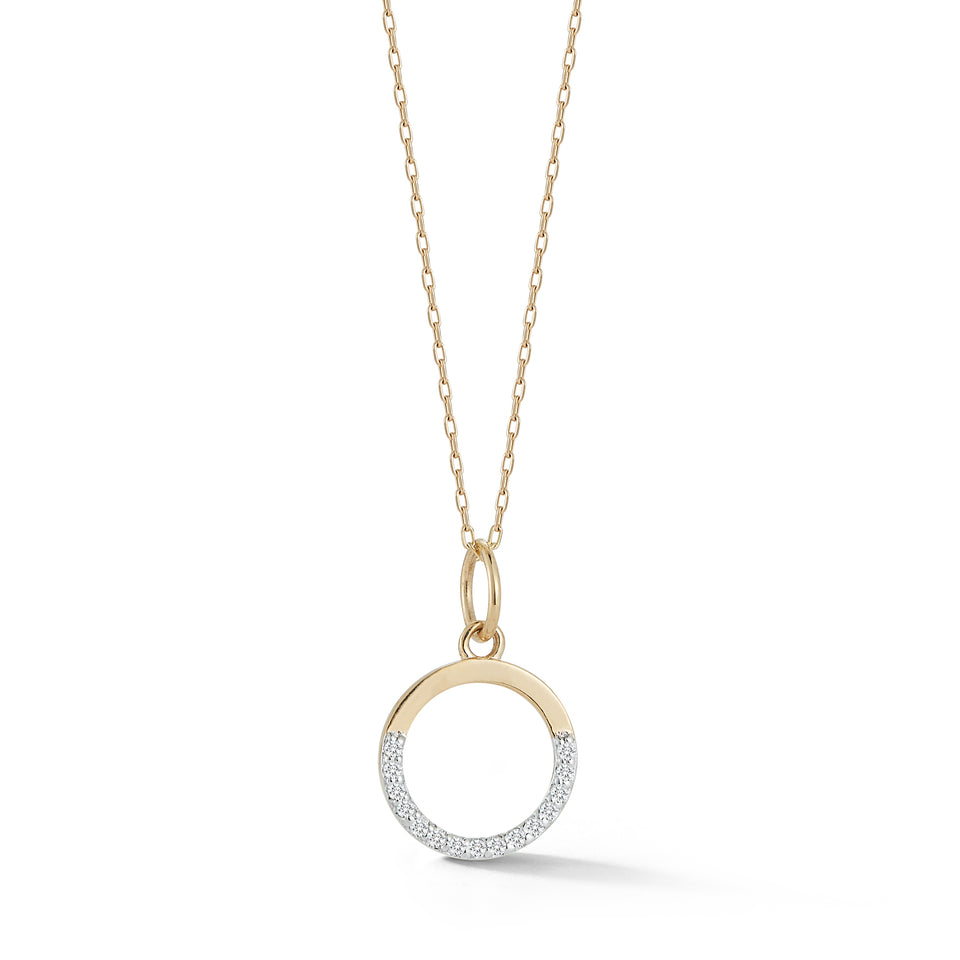 Small Half Moon pendant with diamonds