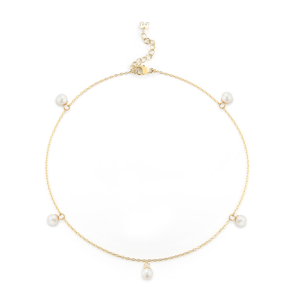 14kt Gold 5 Point Pearl Anklet