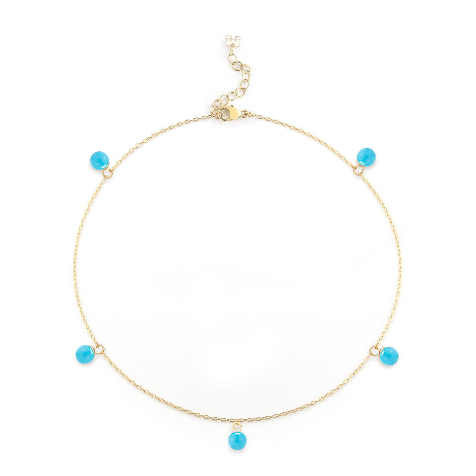 14kt Gold 5 Point Turquoise Anklet