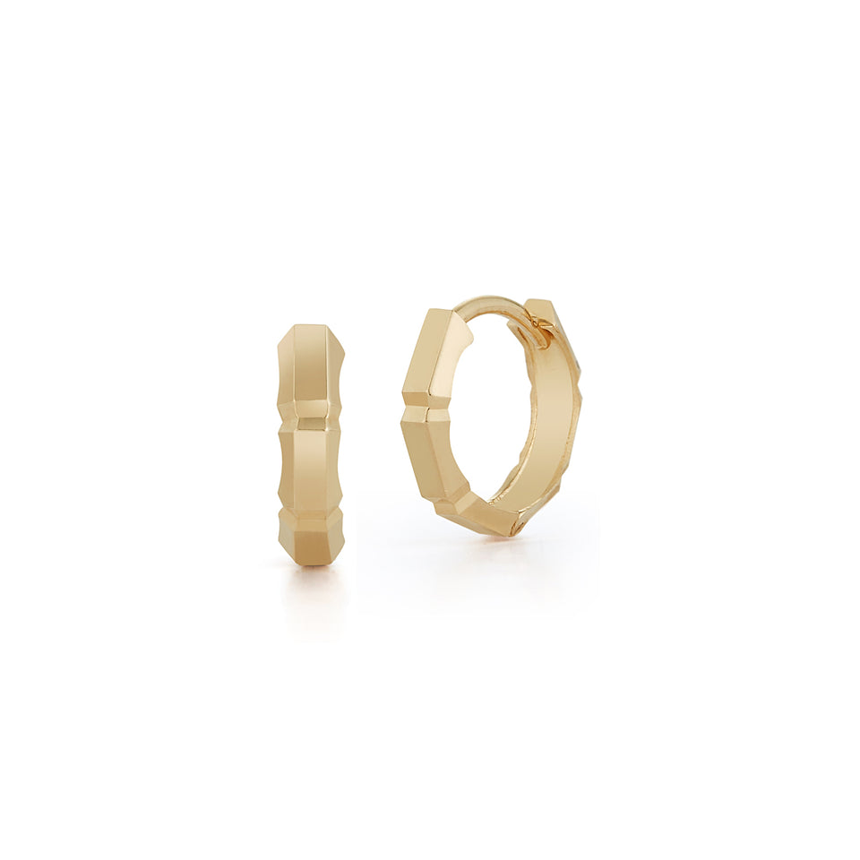 14kt Gold Faceted Huggies