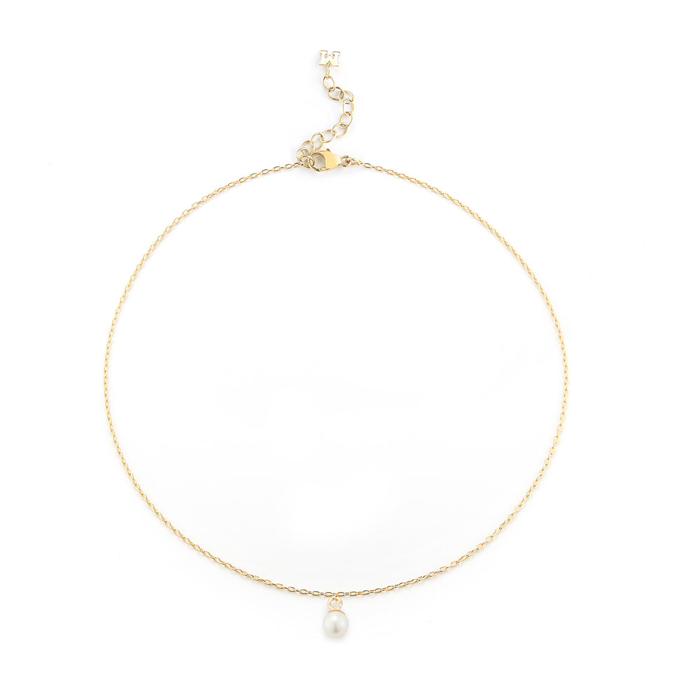 14kt Gold Uni Pearl Chain Anklet