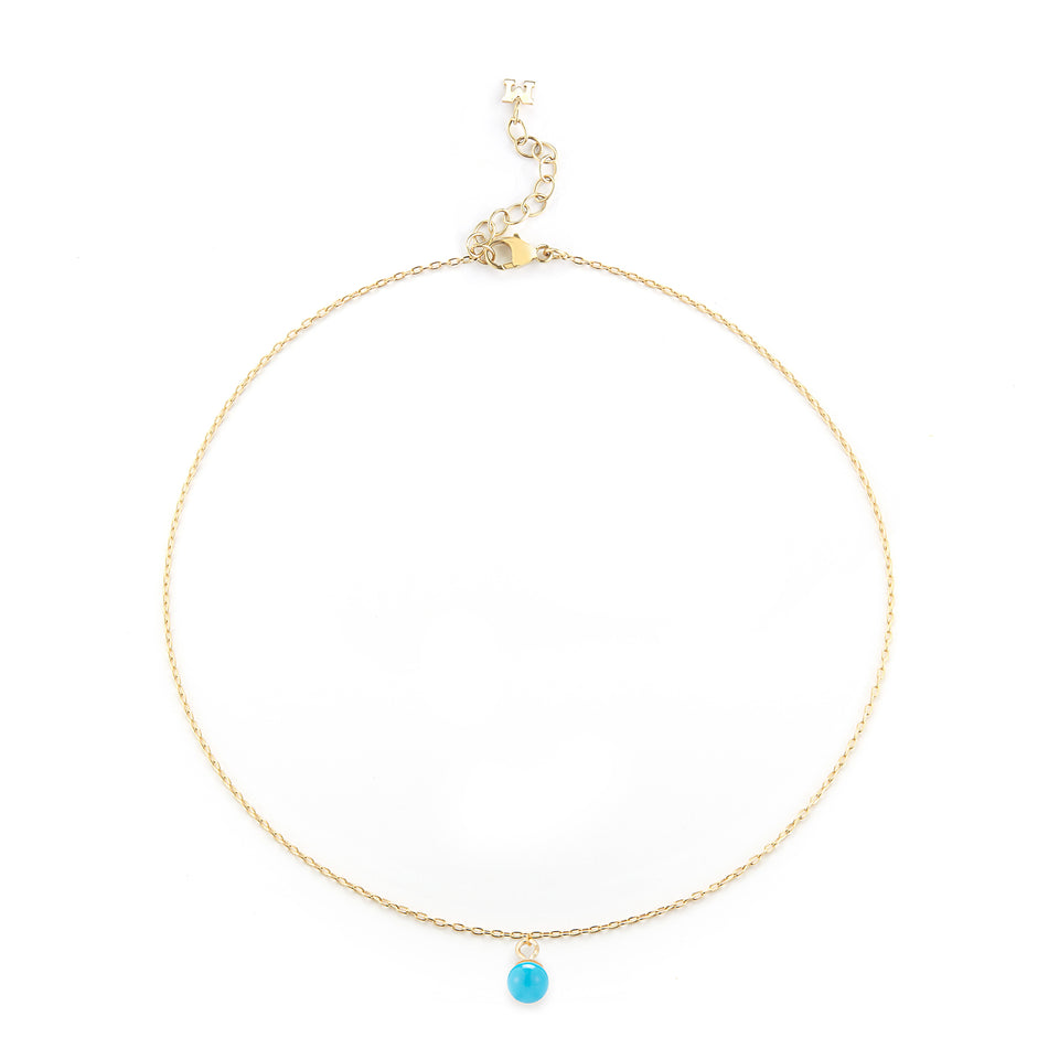 14kt Gold Uni Turquoise Chain Anklet