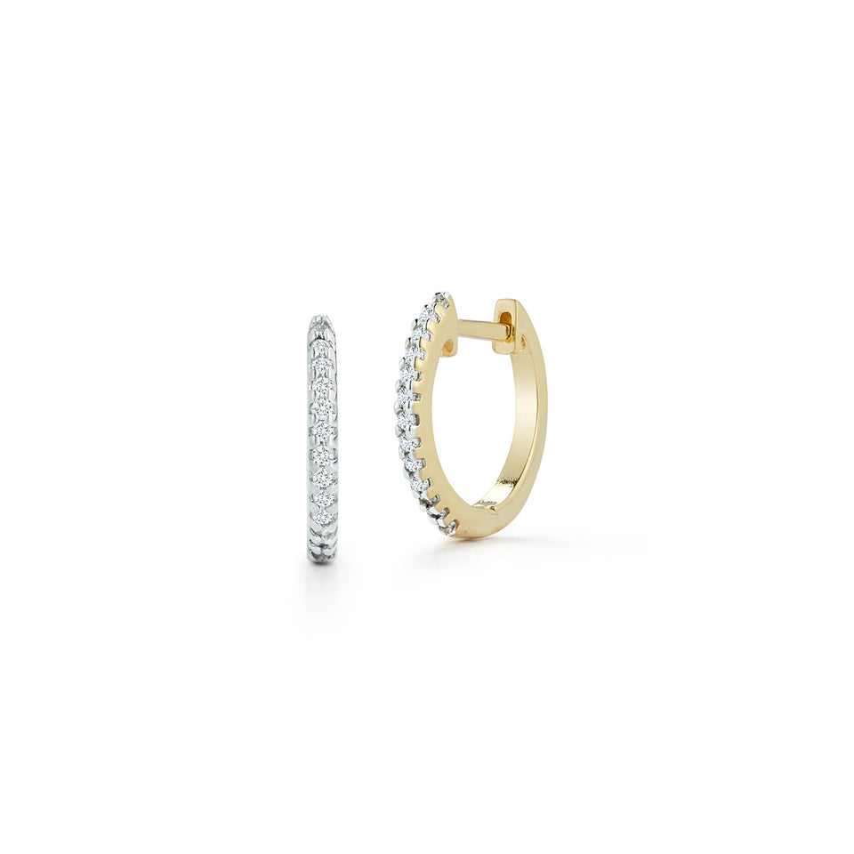 12mm Diamond Huggies - Yellow Gold