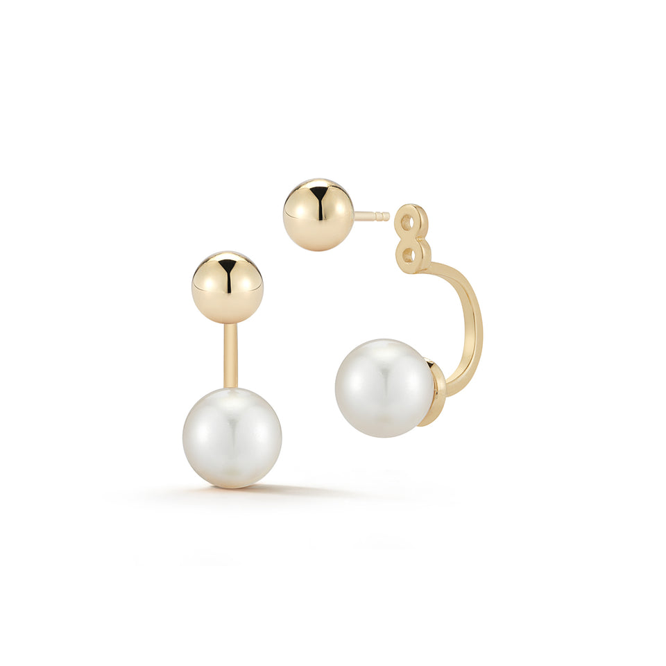 14kt Gold Ball and Pearl Ear Jacket Earrings