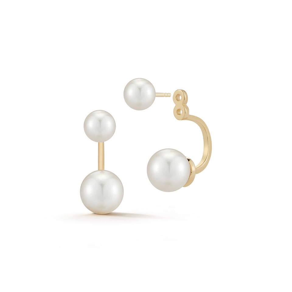 14kt Gold Pearl Ear Jacket Earrings