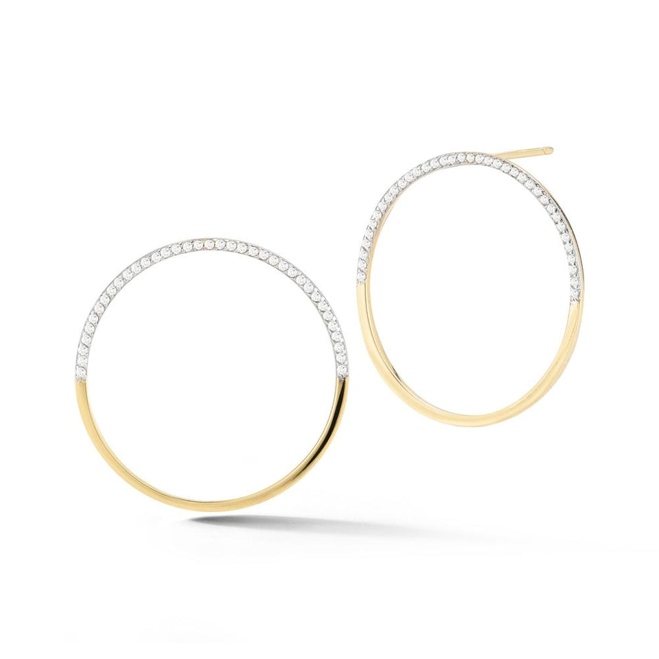 Large 14kt Gold Half Moon Hoops