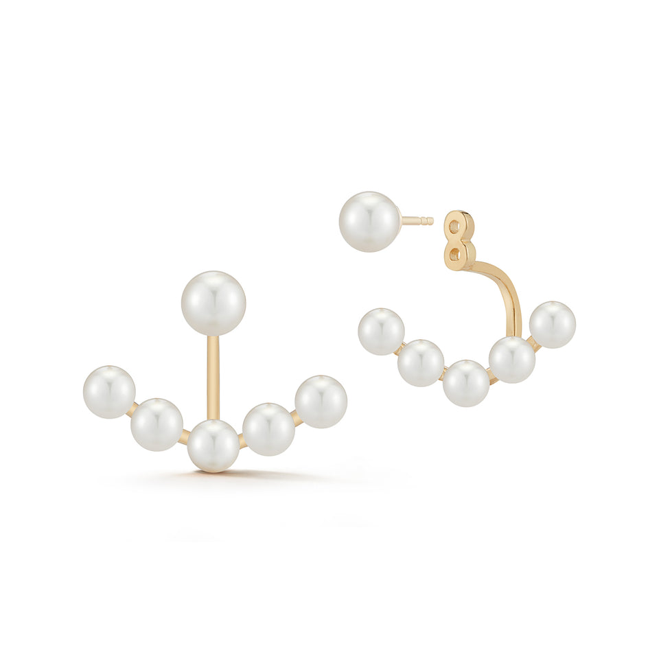 14kt Gold Floating Pearl Jacket Earring