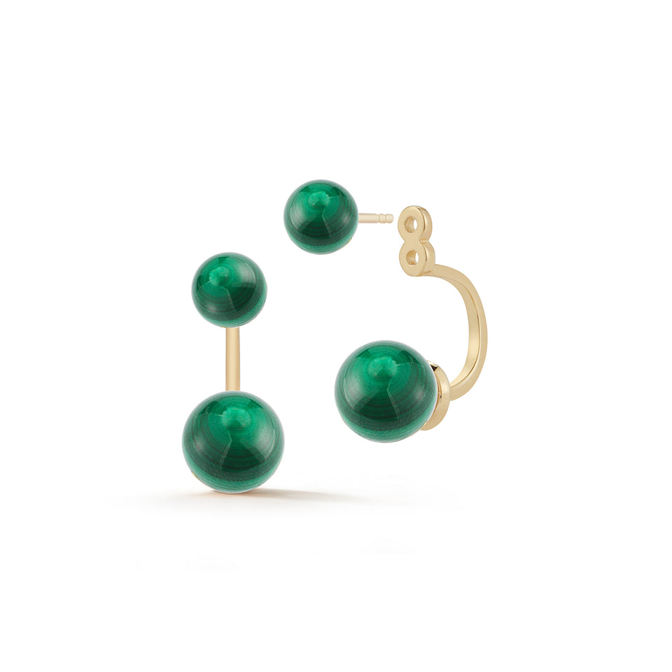 14kt Gold Malachite  Ear Jacket Earrings