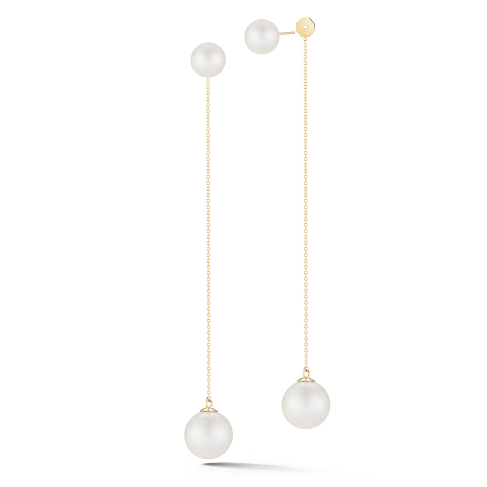 14kt Gold Pearl Ball Drop Earring