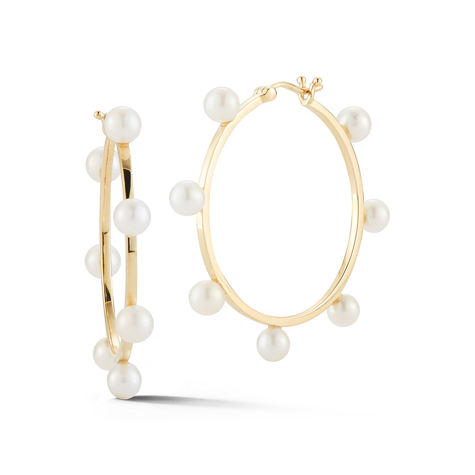 14kt Gold Large Pearl Dot Hoops