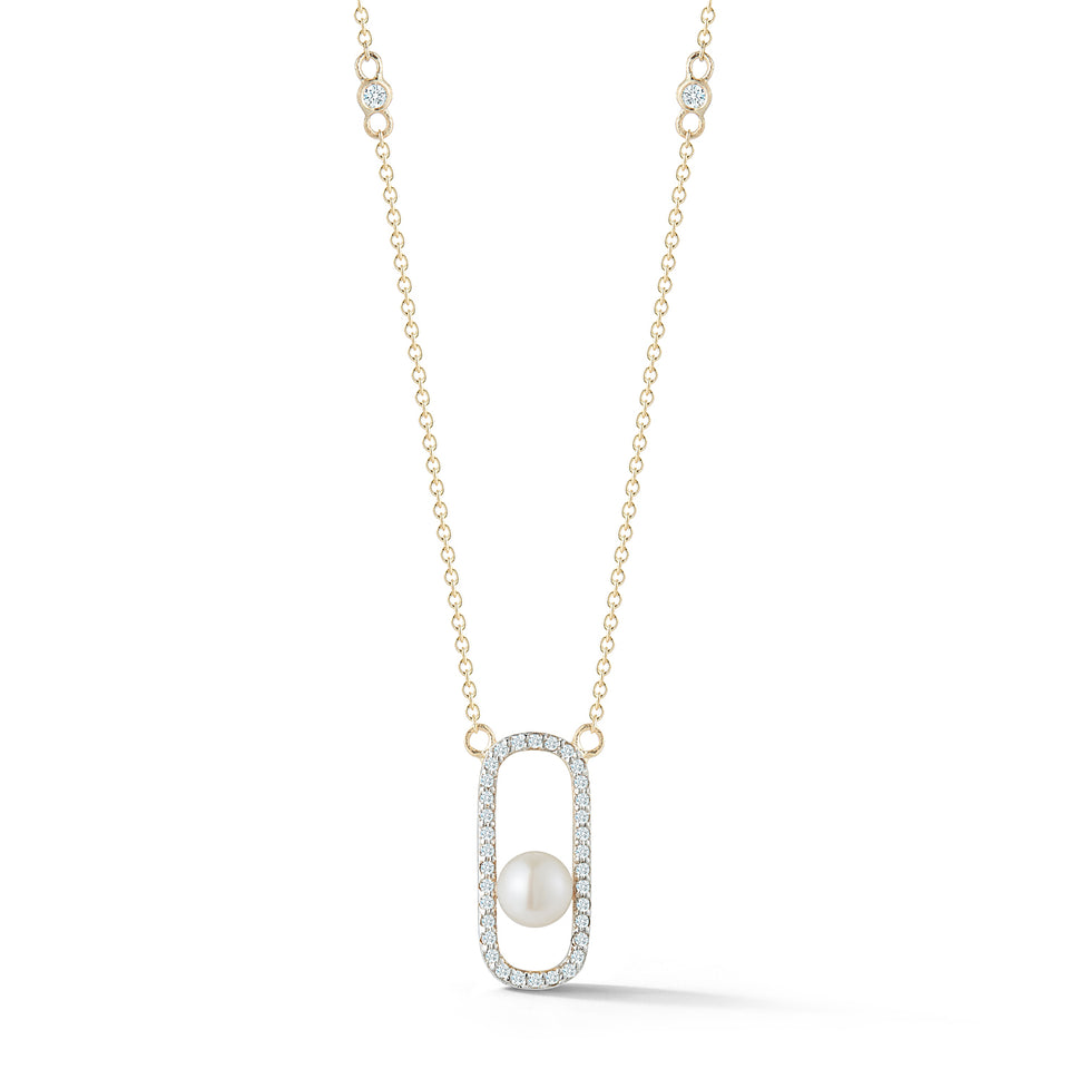 14kt Gold Diamond Pearl Track Necklace