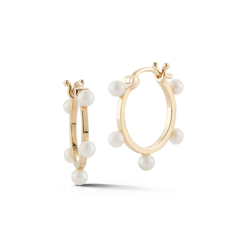 14kt Small Pearl Dot Hoops