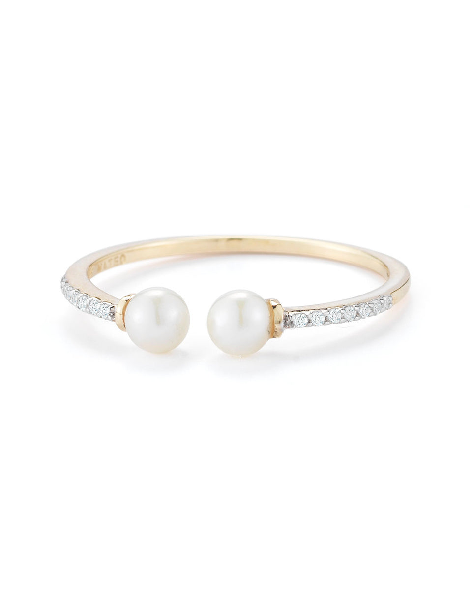 14kt Gold Duo Pearl and Diamond Ring