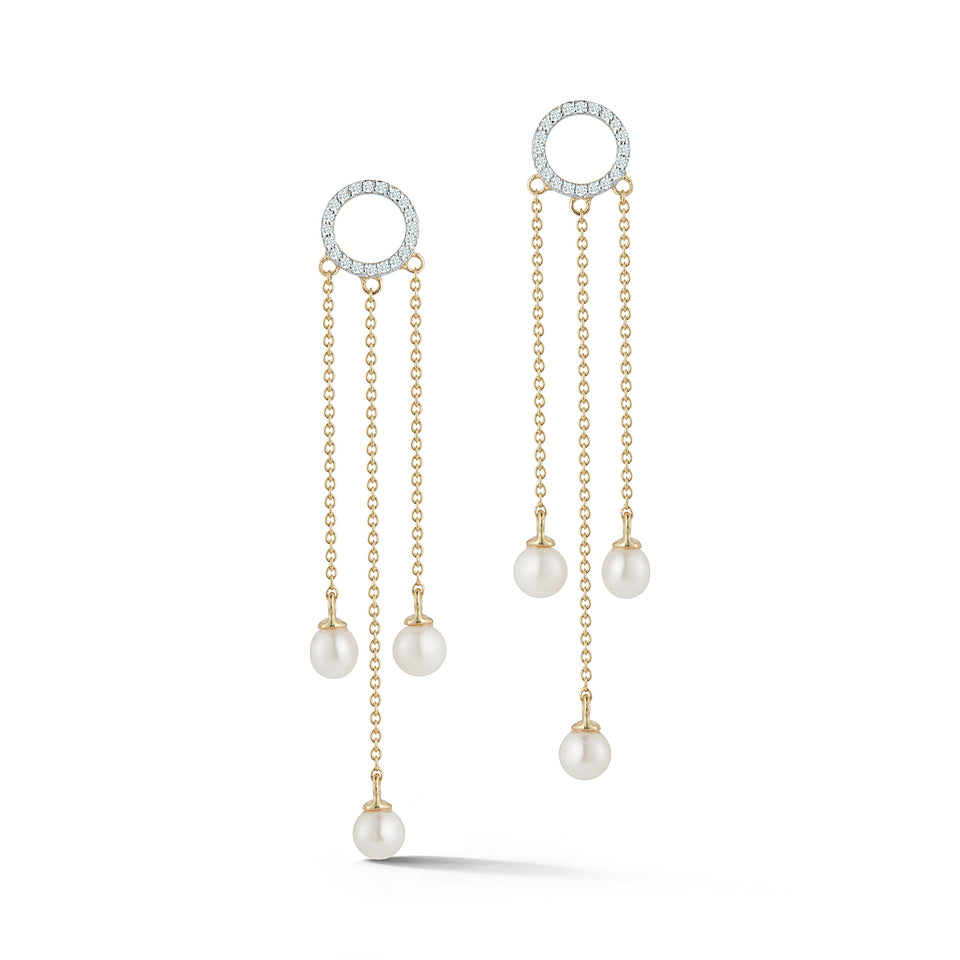 14kt Gold Pearl Circle Tassel earring