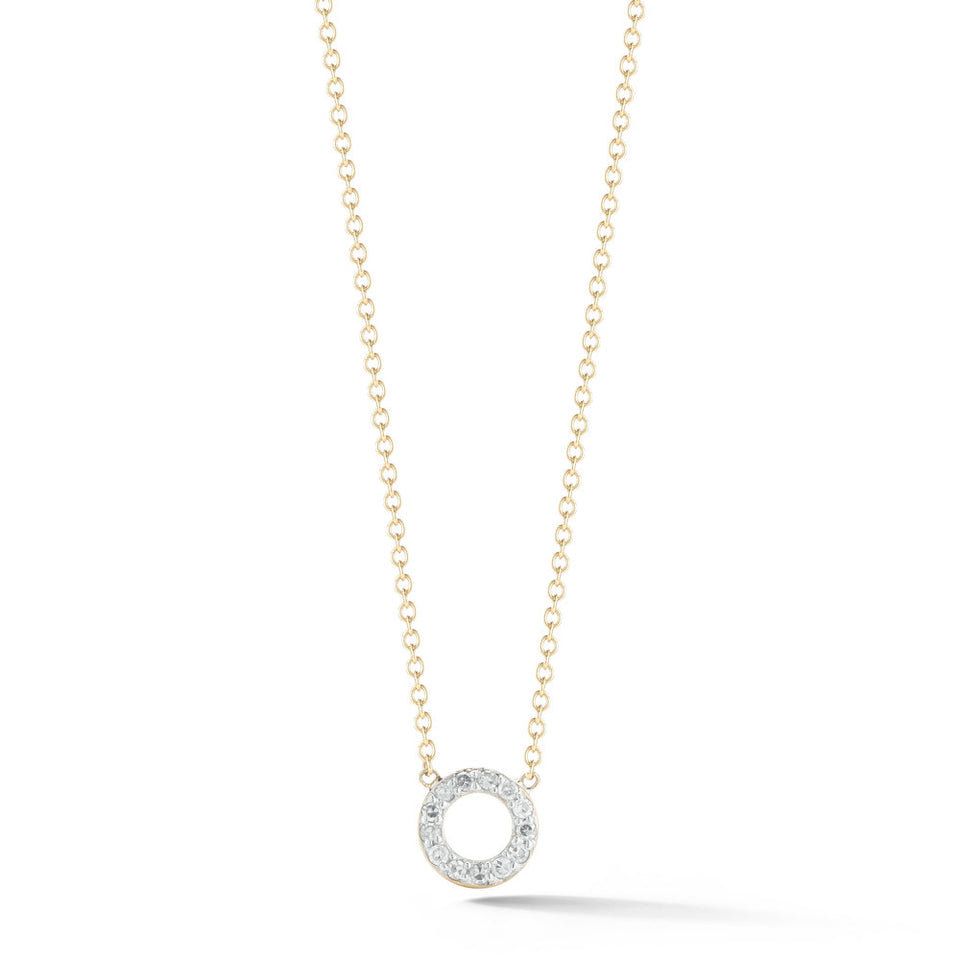 14kt Gold Mini Diamond Circle Necklace