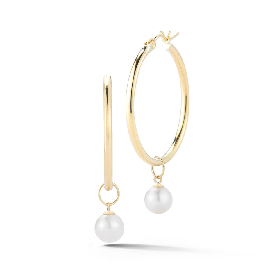 14kt Gold Medium Detachable Pearl Hoops