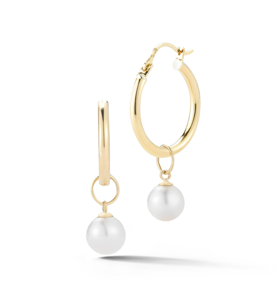 14kt Gold Small Detachable Pearl Hoops