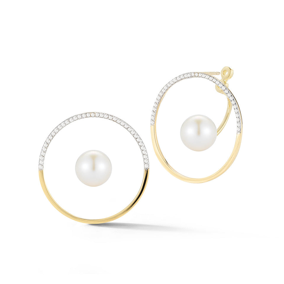 14K Gold Half Moon Floating Pearl Hoop
