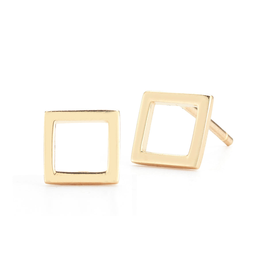 14kt Yellow Gold Mini Square Stud