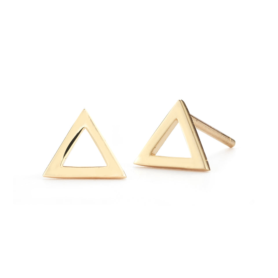 14kt Yellow Gold Mini Triangle Stud