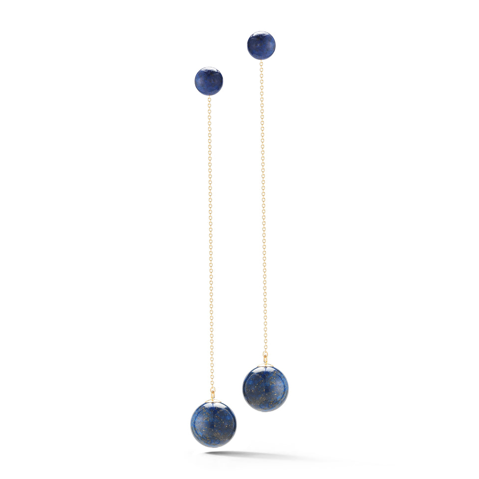Lapis Ball Drop Earrings