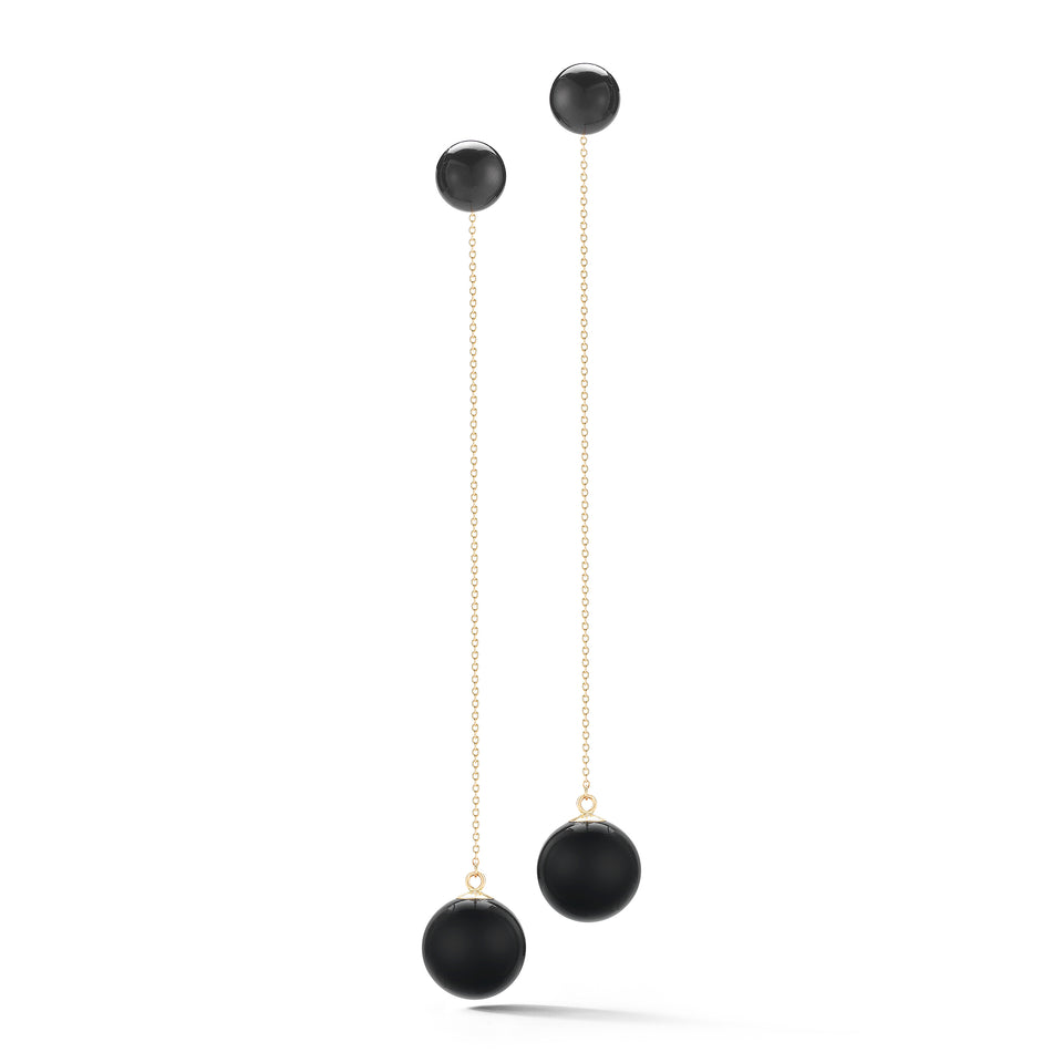 Onyx Ball Drop Earrings