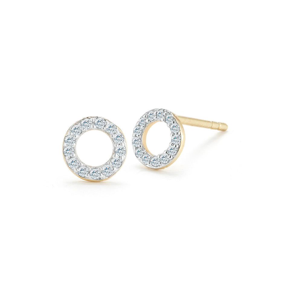 14kt Yellow Gold Mini Diamond Circle Stud
