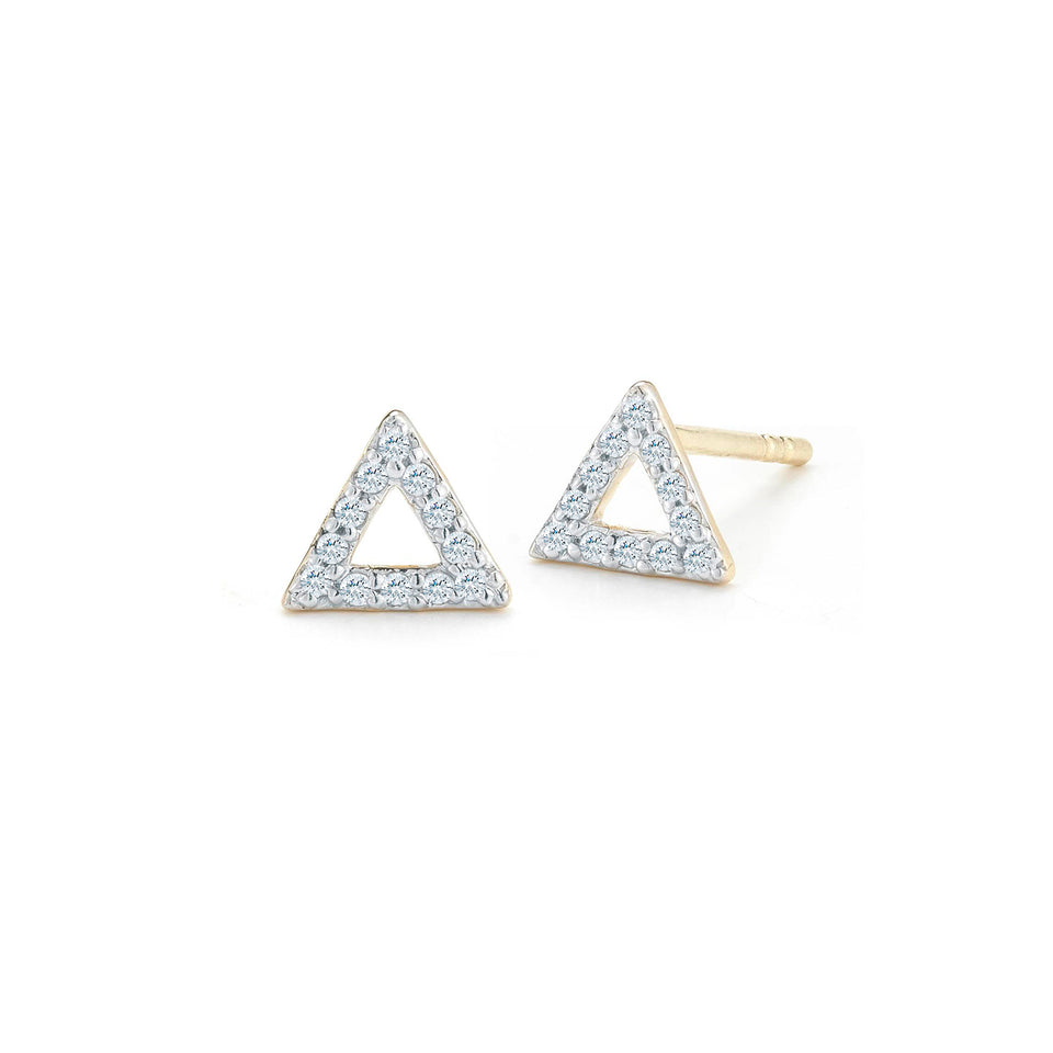 14kt Yellow Gold Mini Diamond Triangle Stud