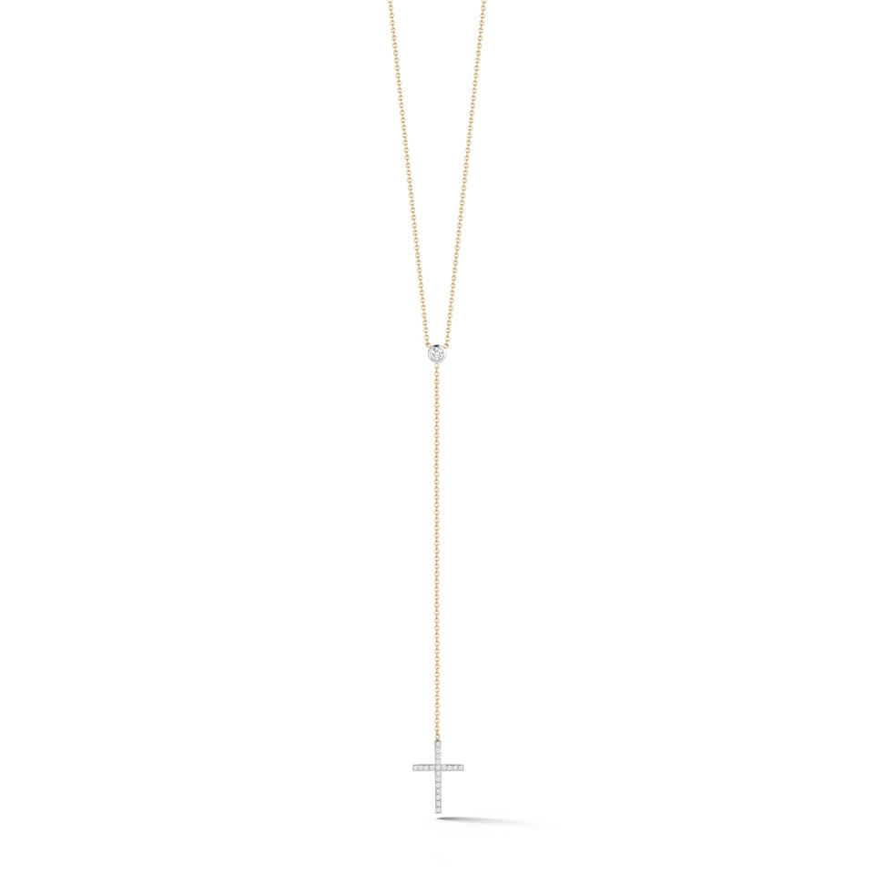 14K Gold Diamond Cross Lariat