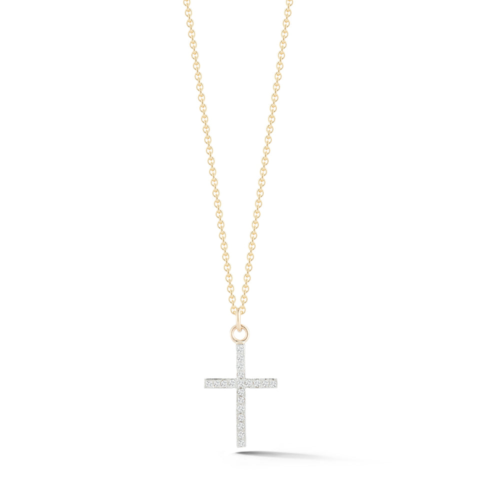 14kt Gold Small Diamond Cross Necklace