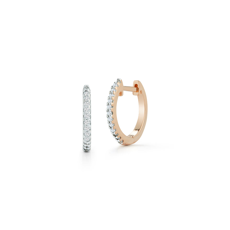 12mm Diamond Huggies - Rose Gold
