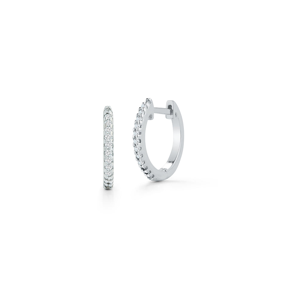 12mm Diamond Huggies - White Gold