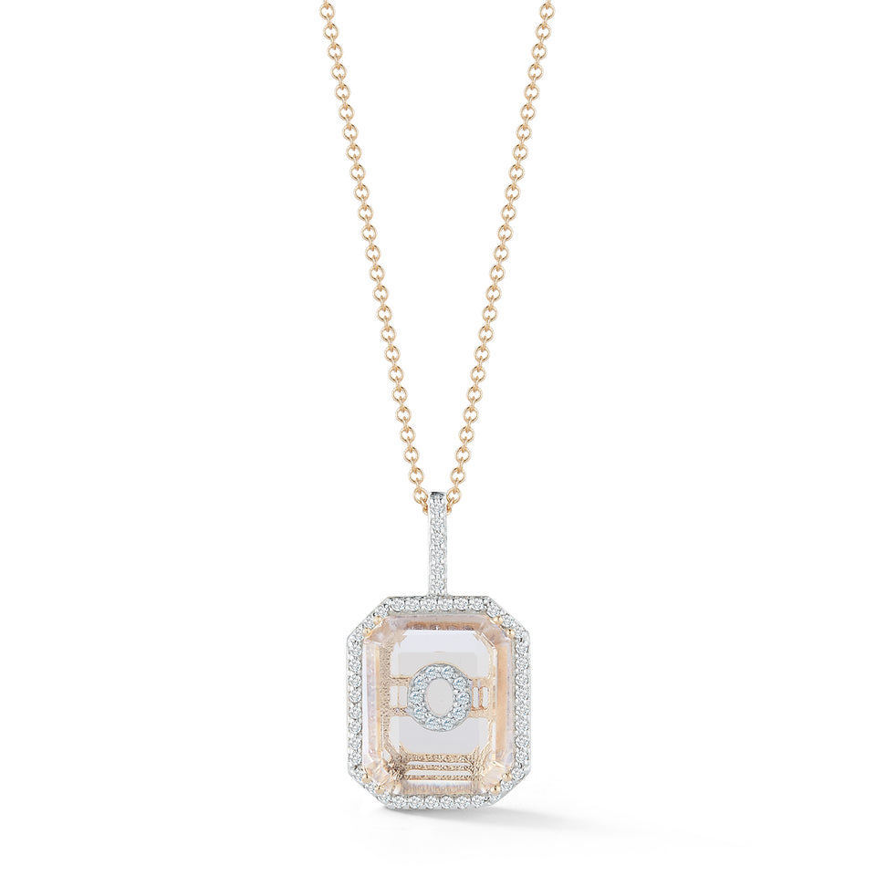 14kt Gold Diamond Frame Crystal Quartz Secret Diamond Initial necklace