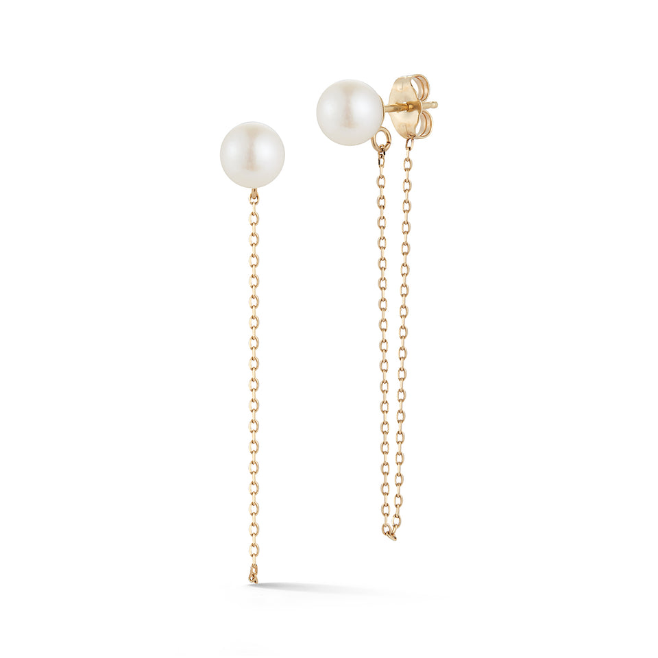 14kt Gold Pearl Stud with Chain drop earrings