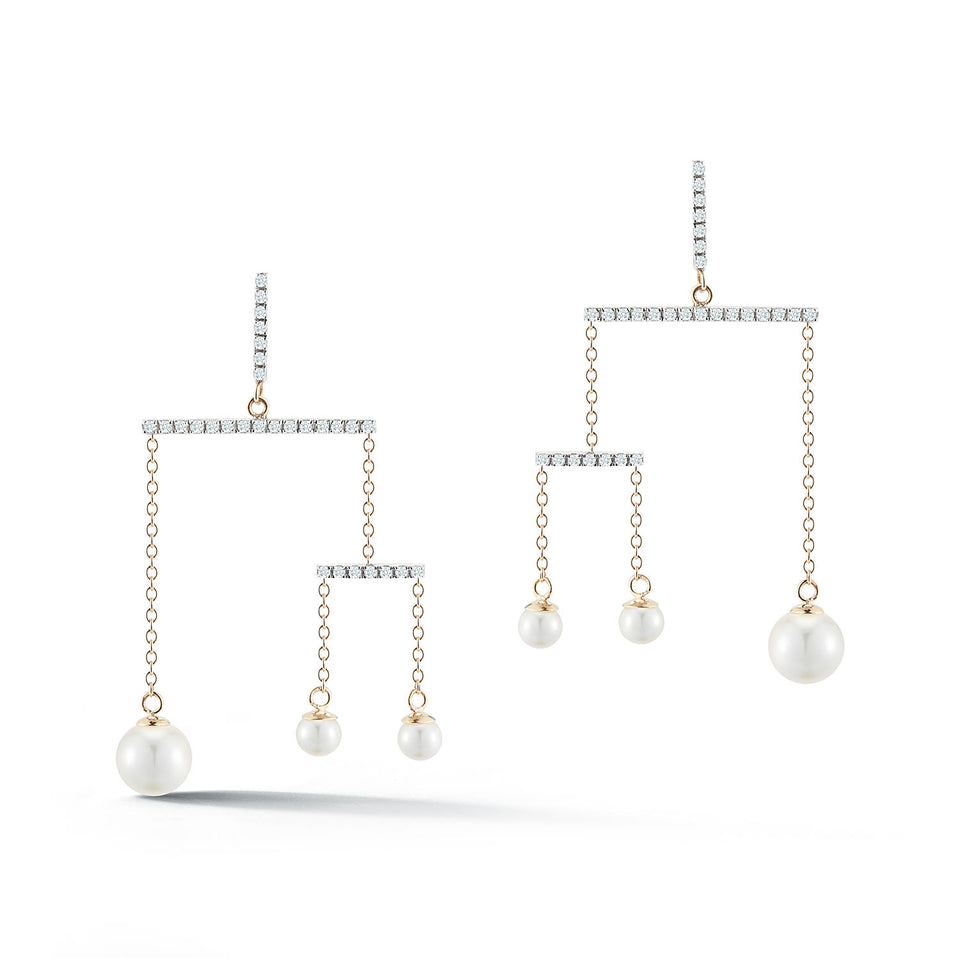 14kt Gold Pearl Kinetic Mobile Earring