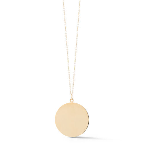 14kt Brushed Gold Disc Pendant