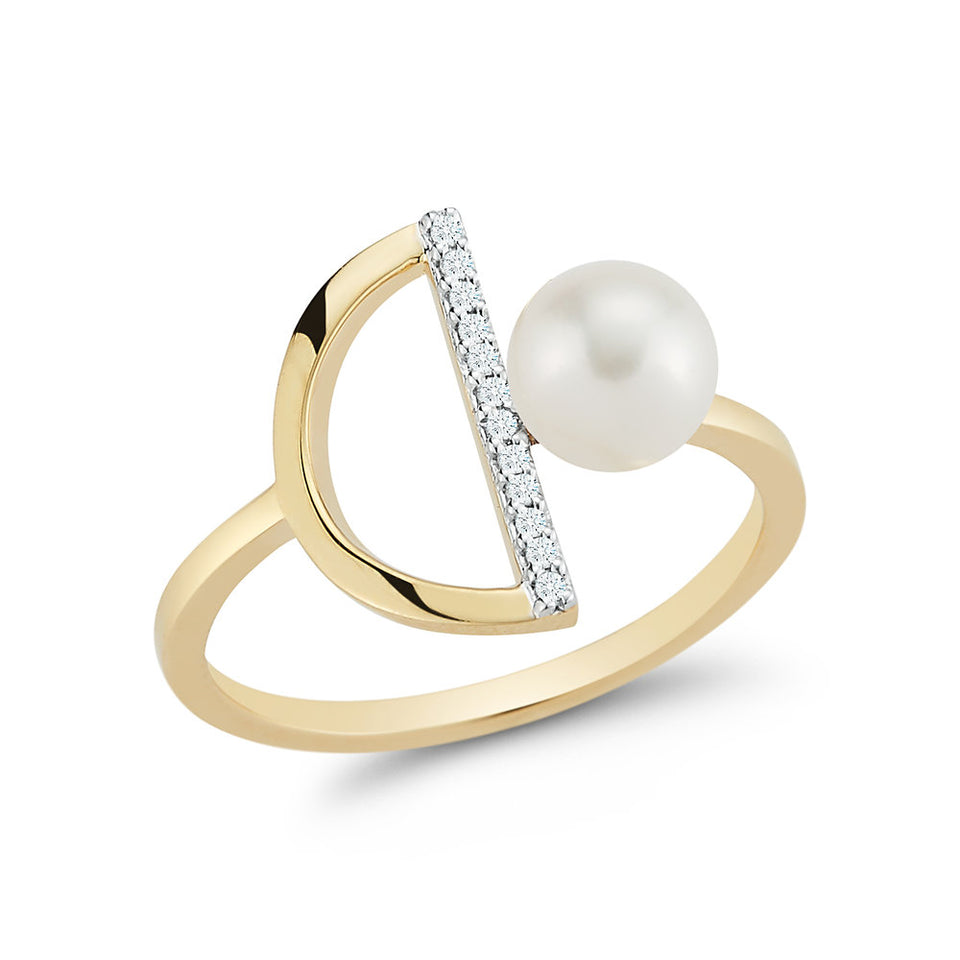 14K Gold Pearl & Diamond Half Moon Ring